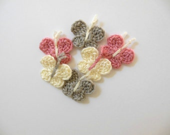 Crocheted Butterflies - Silver, Cream and Pink - Bamboo - Set of 6 - Crocheted Embellishments - Crocheted Appliques