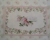 "Dollhouse Carpet,  Rosebud border on white, 5"" X 7"", twelfth scale, dollhouse miniature"