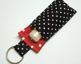 Lip Balm Key chain, Chapstick Holder, chap stick cozy keychain,ChapStick Keychain, Lipbalm pouch, lipstick case cozy- Black Red polka dots