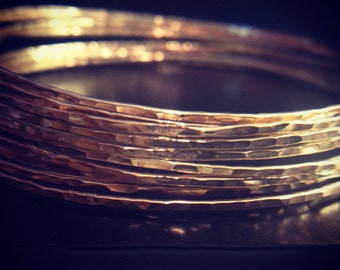 Hammered Gold Bangle Set of 6, Skinny Stacking Bracelet, Thin Bangles