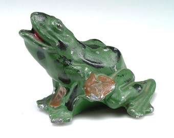 1940's HAPPY FROG Desk helper, desk accessory - painted metal - pen, pencil holder, or...... Frog Collector Gift