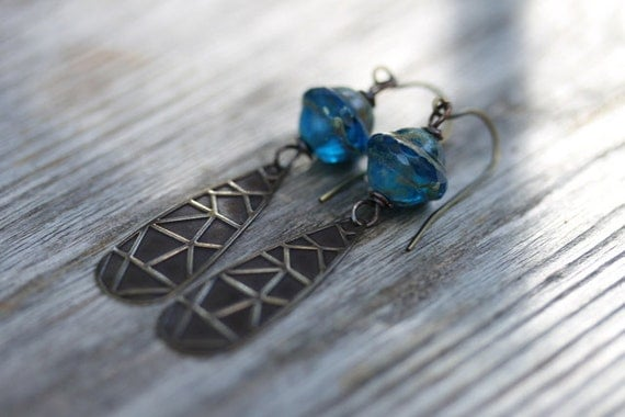 "Rustic Electric Blue Glass and Brass Earrings - ""Cassandra's Dream"""