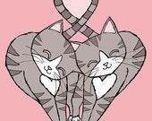 The Headbutt Grey Tabby Kitty Cats 8 x 10 Art Print