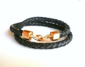 Bangle Bracelet Leather Wrap Bracelet  Black Braided Leather Bracelet Simple Jewelry