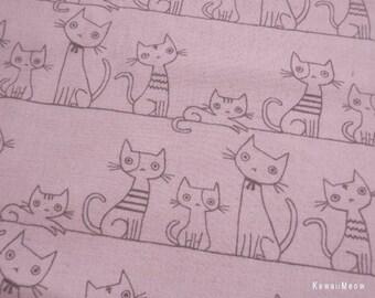 Kawaii Japanese Fabric - KOKKA Cotton/Linen Flannel Cat's Family on Pink - Half Yard (i130710)