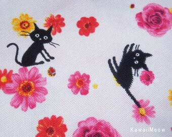 CoCoLand Fabric - Flower Cats on Ivory - Fat Quarter - (no140127)