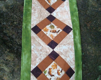 Fall Leaves and Chipmunk Table Runner