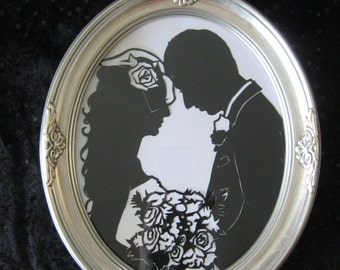 Custom Silhouette First Anniversary Gift in Silver Frame