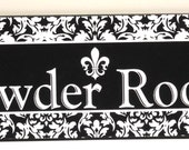 Black and White Damask Powder Room Wooden Custom Plaque Sign