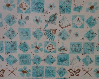 Vintage Shower Theme Gift Wrap1960s Wrapping Paper-1 Sheet-Best Wishes iMod Print in Gold and Turquoise