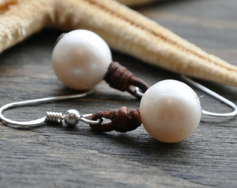 Pearl and Leather Earrings Buoy