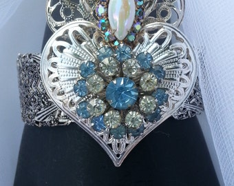 Burning Heart Ex Voto Cuff Bracelet Vintage Rhinestones