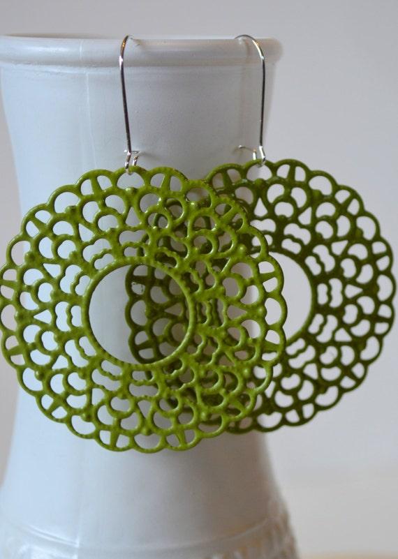 Moss Green Lacy Circle Earrings, Metal Filigree Boho Earrings, Bohemian Hippie Chic Earrings