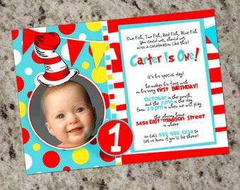 Dr. Seuss Inspired Photo Party Invitations - Print Your Own