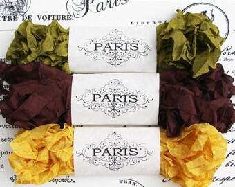 Seam Binding Ribbon, Shabby Crinkled brown, Gold, Moss Green, Rayon Ribbon, French Vintage,Scrapbooking, Sewing, Doll Making,Paris Apartment