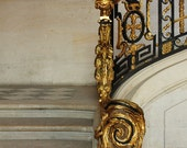 Versailles Black and Gold - French staircase, checkered black and white floor, Paris Decor, French Wall Art, gold, versailles