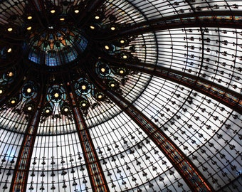 Paris Photography - Galleries Lafayette Ceiling, stained glass paris - paris home decor - paris wall art - stained glass ceiling Paris
