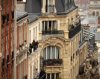 Paris Photography - Romantic rooftops of Montmartre, terracotta, soft blue and grey tones - French Decor - Paris Wall Art
