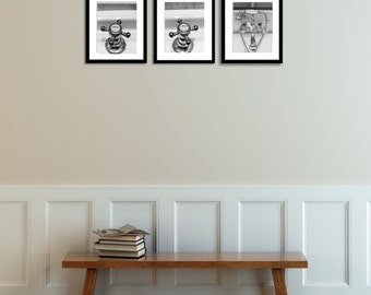 Exceptional French Bathroom Art, Hot And Cold Faucet Set Of 3, Black And White  Photography