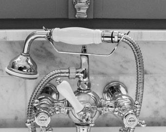 French Bathroom Art, Hot and Cold Bathroom Faucet, Black and White Photography, Bathroom Decor, Bath Wall Decor Set, Paris Print Set
