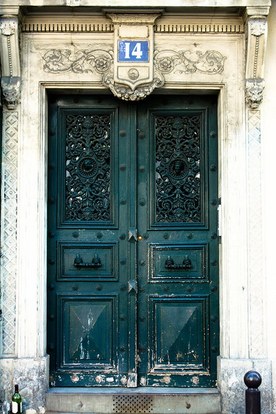 Door 14 - Hunter Green Doorway - paris photography - paris decor - paris print - Door in Paris, France - green wall art - paris print