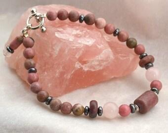 "Que Sera Rhodonite Bracelet - Rose Quartz, Hematite, Silver - Handmade OOAK - 7"" - Free US Shipping, Healing Gemstones, Positivity,"