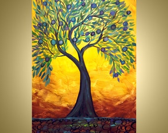 Tree Landscape Abstract Painting Modern Art Large Oil Painting by Luiza Vizoli OLIVE TREE- made to order