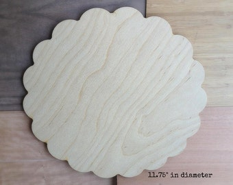 D.I.Y. Cake Plate/ Cake Stand Unfinished Wood - Petal Edge