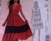 Easy McCalls M5842 - Misses Sassy flared, ruffle-tiered dress  in two lengths.  Sizes 6 - 8 - 10 - 12