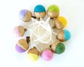 Natural Christmas Ornaments, Felt Acorns, Rainbow Colors, Eco Friendly Gift, Rustic Decorations
