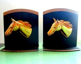 Vintage Bookends Horse Head Bookends Brass 1950s