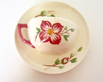 Vintage Wall Pocket Vase Cup and Saucer Possibly McCoy 1940s