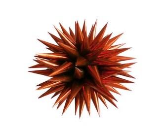 Copper Polish Star Ornament, Copper Christmas Ornament, Paper Christmas Tree Ball, Dark Metallic Orange Paper Decoration - Copper,  3 inch