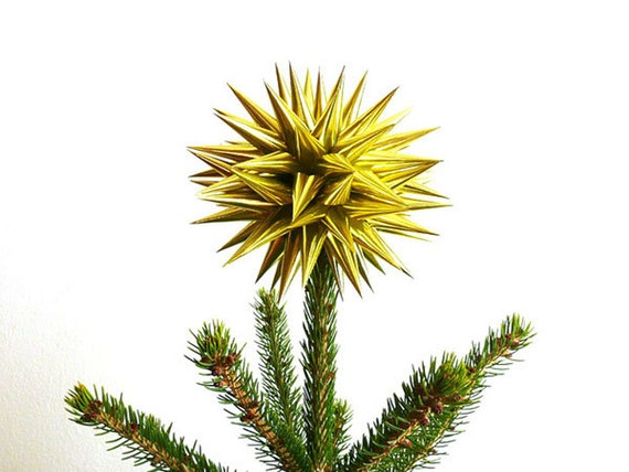 Gold Christmas Tree Topper Paper Tree Topper Star Polish