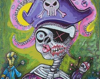 Modern Cross Stitch Kit 'Pirate Voodoo' By Laura Barbosa - Day of the Dead Voodoo NeedleCraft Kit