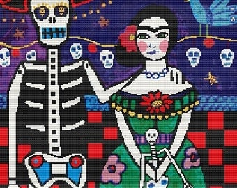 Modern Cross Stitch Kit 'Frida Kahlo Sugar Skull' By Heather Galler - Mexican Folk Art