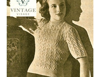 INSTANT DOWNLOAD-1940s wartime van dyke lace stitch jumper vintage knitting pattern-pdf email delivery