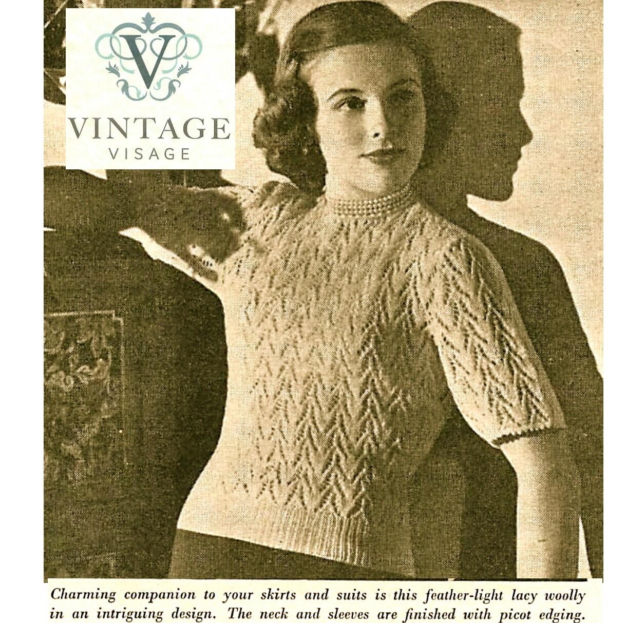 Vandyke Lace Knitting Pattern : INSTANT DOWNLOAD-1940s wartime van dyke lace stitch jumper ...