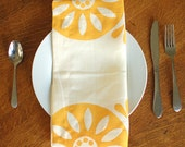 Hemp Linen Block Printed Napkin in Sunburst in Butternut