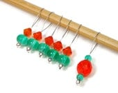 Knitting Stitch Markers, Beaded, Orange, Green