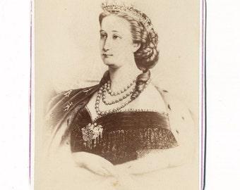1860s - 1870s Antique CDV Photograph. Portrait of Empress Eugenie