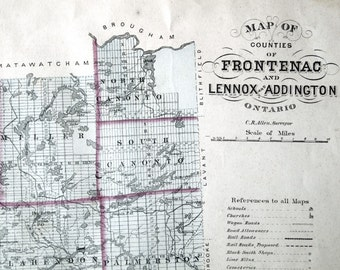 1878 Large Rare Vintage Map of Frontenac, Lennox, and Addington Counties, Ontario - Handcolored