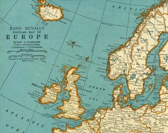 1937 Vintage Map of Europe