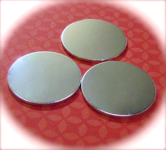 "50 Discs 1.25"" 14 Gauge Polished NO HOLES Heavy Weight Pure Food Safe Metal - 50 Discs"