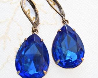 Victorian Earrings Sapphire Blue Earrings Dangle Drop Earrings Jewelry Estate Style Rhinestone Earrings CAMBRIDGE Sapphire