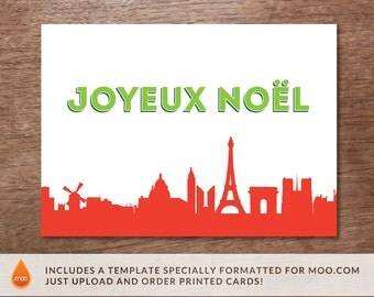 Printable Christmas Card - Christmas Card Download - Paris Christmas Card - Joyeux Noel - Christmas Card PDF - Paris Skyline Christmas