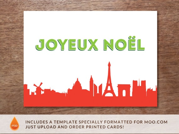 Printable Christmas Card - Christmas Card Download - Paris Christmas Card - Joyeux Noel - Christmas Card PDF - Paris Skyline Christmas