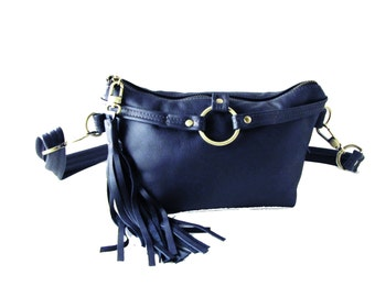 Blue Leather Waist Bag Fanny Pack Small Leather Pouch with Tassel - Royal Blue