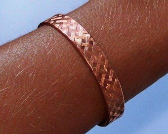 Cuff Bracelet - Copper Cuff - Copper Bracelet - Patterned Copper Cuff Bracelet - Available in Natural Sheen or Oxidized - Made to Order