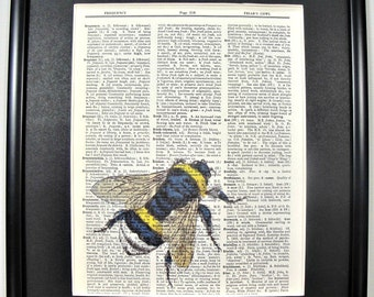 FRAMED 11x14 - Vintage Bumble Bee Book Page Dictionary Print